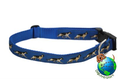"German Shepherd Dog Breed Adjustable Nylon Collar XL 13-26"" Blue"