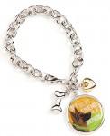 German Shepherd Charm Bracelet w/ Heart & Bone Silver