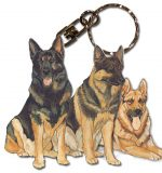 German Shepherd Wooden Dog Breed Keychain Key Ring