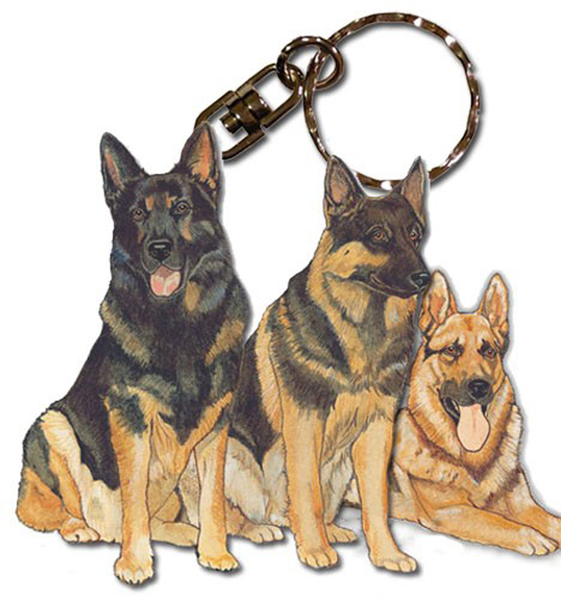 German Shepherd Wooden Dog Breed Keychain Key Ring