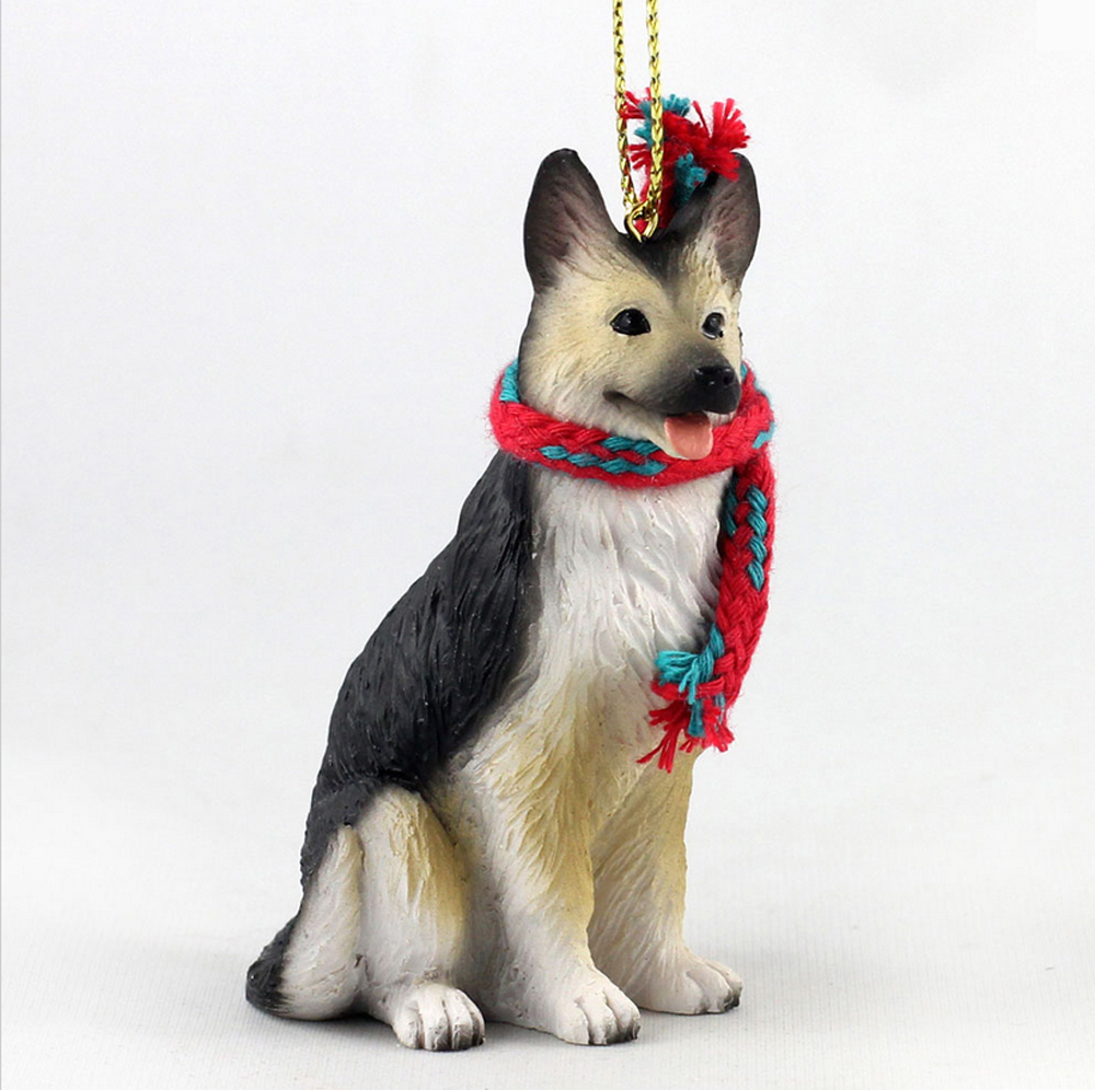 German Shepherd Dog Christmas Ornament Scarf Figurine TanBlack
