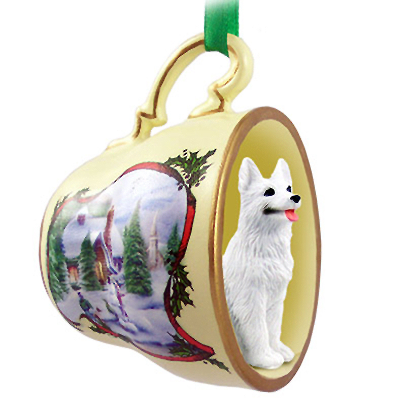 German Shepherd Dog Christmas Holiday Teacup Ornament Figurine White