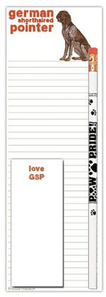 German Shorthair Pointer Dog Notepads To Do List Pad Pencil Gift Set