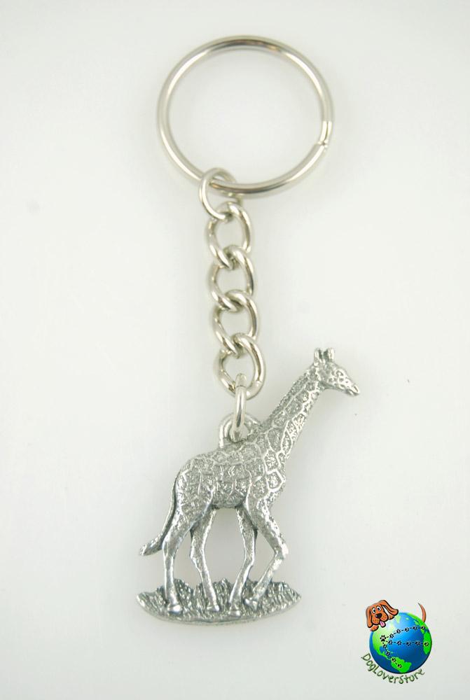 Giraffe Keychain Key Chain Ring Fine Pewter Silver