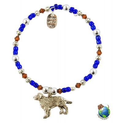 Golden Retriever Beaded Charm Bracelet Silver Handmade 1