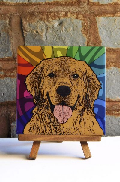 Golden Retriever Colorful Portrait Original Artwork on Ceramic Tile 4x4 Inches