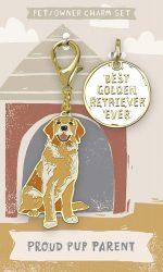 Golden Retriever Collar Charm and Keychain Set