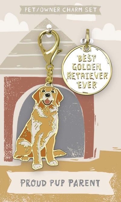 Golden Retriever Collar Charm and Keychain Set