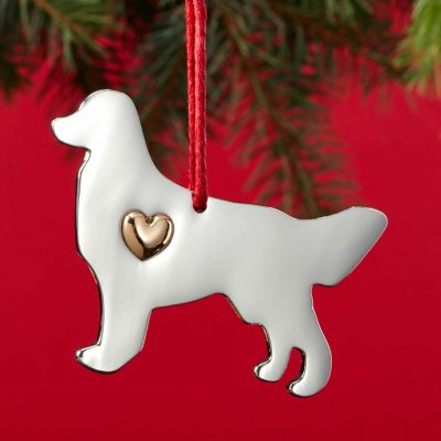 golden retriever holiday ornament collar charm set 2