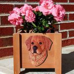 Golden Retriever Planter Flower Pot Dark 1