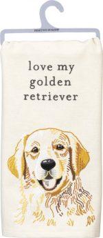 Golden Retriever Kitchen Dish Towel By Kathy