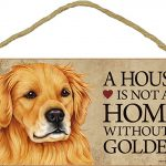 Golden Retriever Wood Dog Sign Wall Plaque Photo Display A House Is Not A Home 5 + Bonus Coaster 1