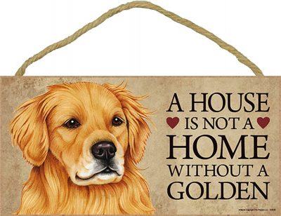 Golden Retriever Wood Dog Sign Wall Plaque Photo Display A House Is Not A Home 5 + Bonus Coaster