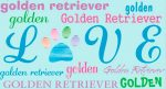 Golden Retriever Rectangular Magnet That Says Love & Golden Retiever in a Pattern