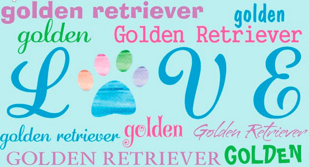 Golden Retriever Rectangular Magnet That Says Love & Golden Retiever in a Pattern