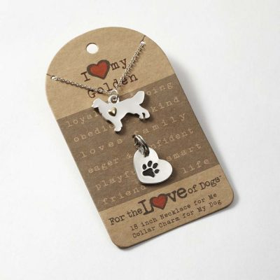Golden Retriever Necklace & Collar Charm Set 16 Inches