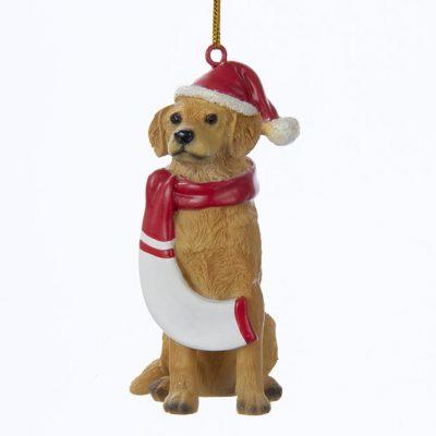 Golden Retriever Resin Santa Ornament 3