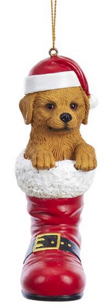 Golden Retriever Santa Boot Ornament