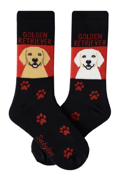 Golden Retriever Socks Standard and White - Black and Red in Color