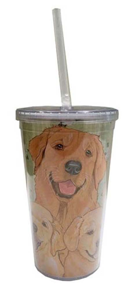 Golden Retriever Tumbler With Straw