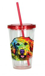 Golden Retriever Tumbler - Double Walled Acrylic 16 Ounces