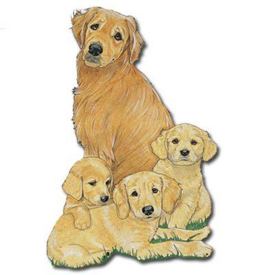 Golden Retriever Wooden Magnet Family
