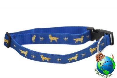 "Golden Retriever Dog Breed Adjustable Nylon Collar XL 13-26"" Blue"