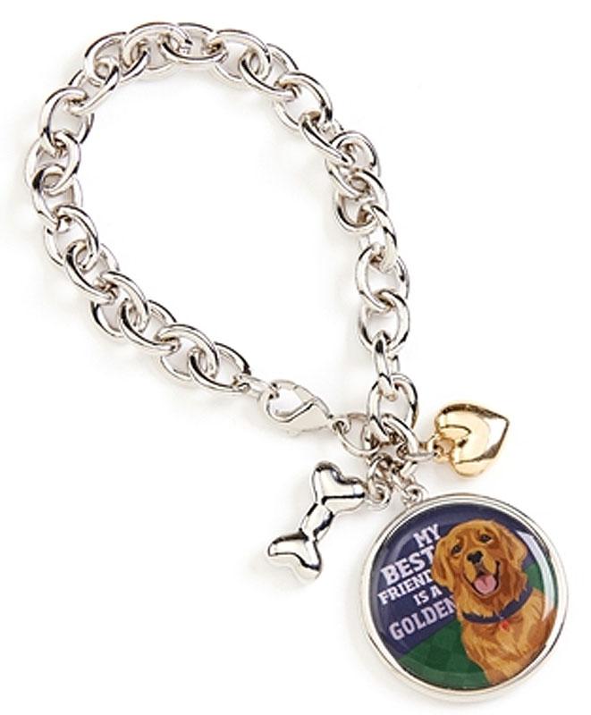 Golden Retriever Charm Bracelet w/ Heart & Bone Silver