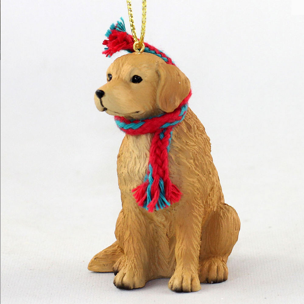 golden retriever christmas scarf ornament
