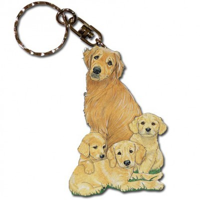 Golden Retriever Wooden Dog Breed Keychain Key Ring 1
