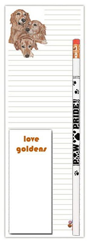 Golden Retriever Dog Notepads To Do List Pad Pencil Gift Set 1