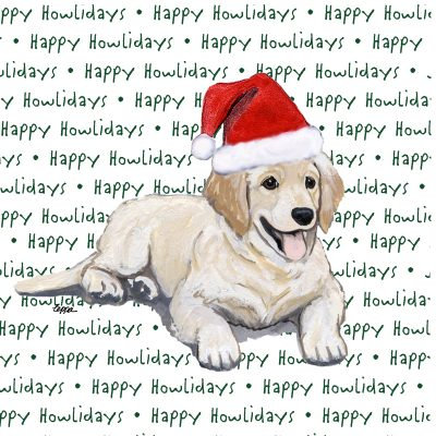 Golden Retriever Dog Coasters Christmas Themed Puppy 1