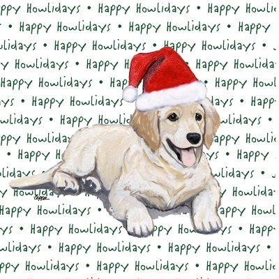 Golden Retriever Coasters Christmas Themed Puppy -