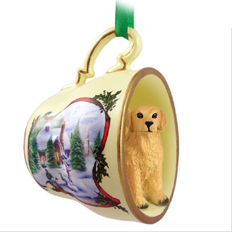 golden retriever christmas ornament teacup