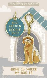 Goldendoodle Collar Charm and Keychain Set