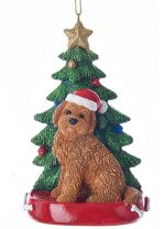 Goldendoodle Christmas Tree Ornament Brown
