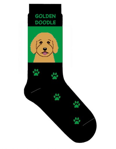 Goldendoodle Socks Lightweight Cotton Crew Stretch Green 1