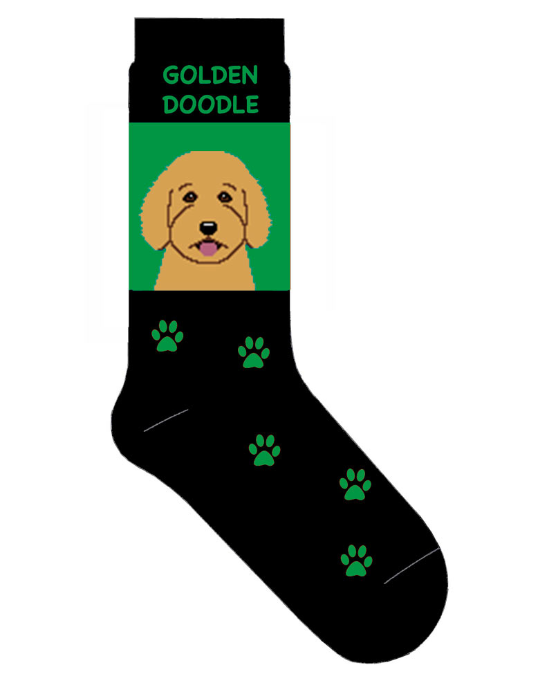 Goldendoodle Socks Lightweight Cotton Crew Stretch Green