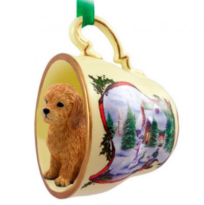 goldendoodle teacup snowman ornament