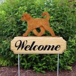 Outdoor Goldendoodle Garden Welcome Sign Apricot in Color