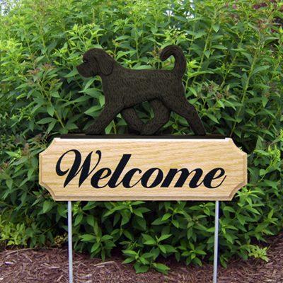 Black Goldendoodle Outdoor Welcome Garden Sign