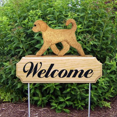 Goldendoodle Outdoor Welcome Yard Sign Blonde in Color
