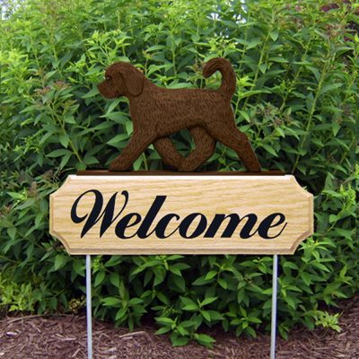 Goldendoodle Outdoor Welcome Yard Sign Chocolate in Color