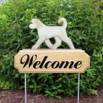 Cream Goldendoodle Outdoor Welcome Sign
