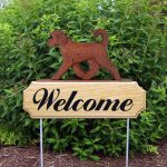 Red Goldendoodle Outdoor Welcome Signs