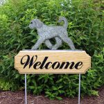 Goldendoodle Outdoor Welcome Yard Sign Silver/Gray in Color