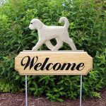 Goldendoodle Outdoor Welcome Sign White in Color