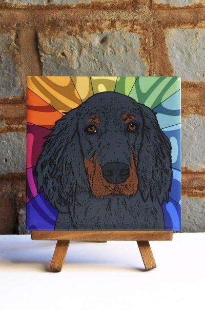 Gordon Setter Colorful Portrait Original Artwork on Ceramic Tile 4x4 Inches