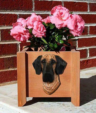 Great Dane Planter Flower Pot Brindle 1