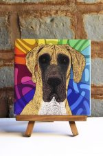 Great Dane Fawn Uncropped Colorful Portrait Original Artwork on Ceramic Tile 4x4 Inches